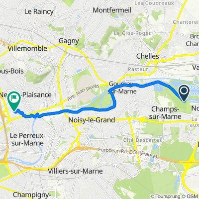De Chemin de la Rivière, Noisiel à 7quater Rue du Maréchal Lyautey, Le Perreux-sur-Marne