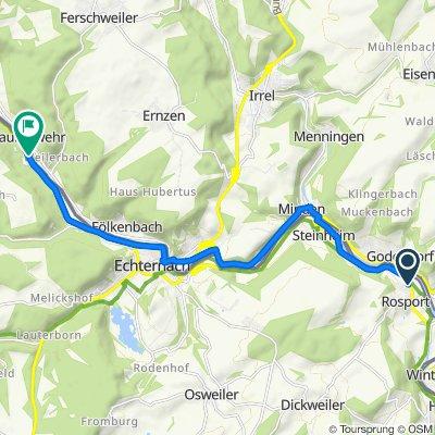Route d'Echternach 27, Rosport nach Route de Diekirch 8–13, Berdorf