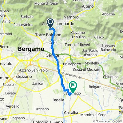 Da Via Risorgimento 4, Ranica a Via Gioachino Rossini 2, Cavernago