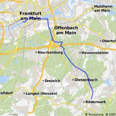 Ober-Roden Lindenhof nach Frankfurt Westhafen