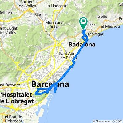 De Avenida de los Castaños, 5, Badalona a Carrèr Moreres, 2, Badalona