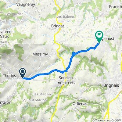De 54 Route de la Vallée du Garon, Thurins à 51 Rue Louis Martel, Chaponost