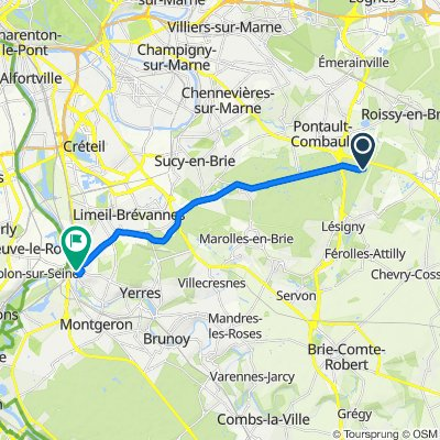 De Chemin des Fougères, Pontault-Combault à 17 Allée Beauséjour, Villeneuve-Saint-Georges