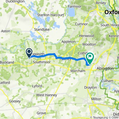 Route from Maple Barn, St Thomas's Close, Faringdon