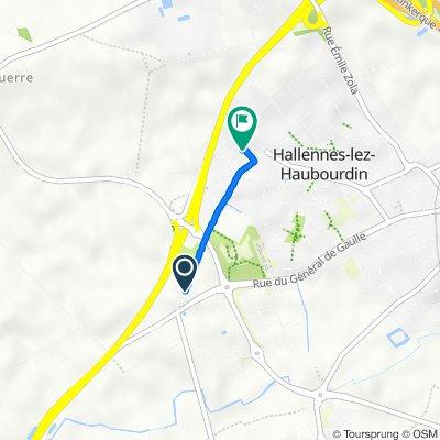 De Rue de l'Égalité 24, Hallennes-lez-Haubourdin à Rue Jacques Becq 2/12, Hallennes-lez-Haubourdin