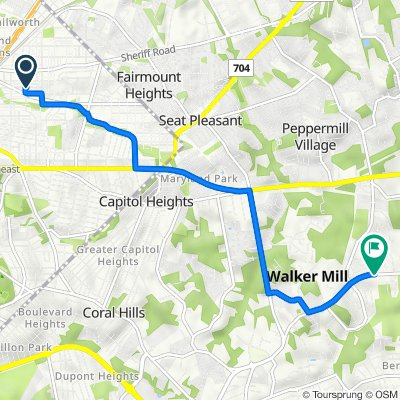 4601 Hunt Pl NE, Washington to 7500 Walker Mill Rd, Capitol Heights