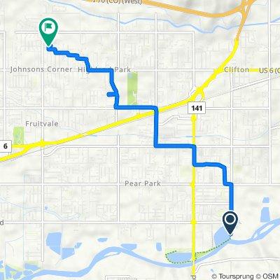 Route to 633 Kings Glen Loop, Grand Junction