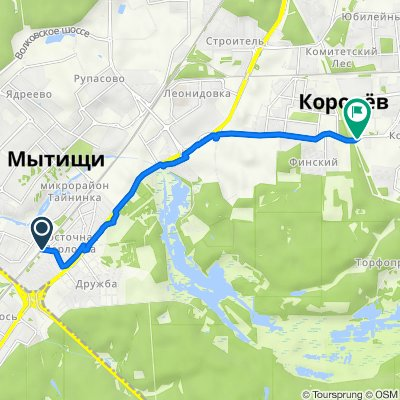 От Железнодорожная улица 41, Мытищи до Калининградская улица 28, Королёв