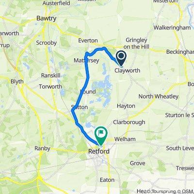 Wiseton Road, Clayworth, Retford to 6A Market Pl, Retford