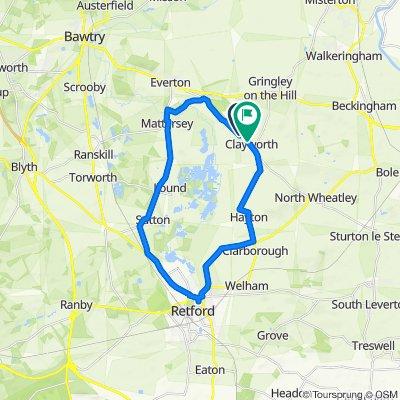Wiseton Road, Clayworth, Retford to 1 Hall Cottages, Town St, Retford