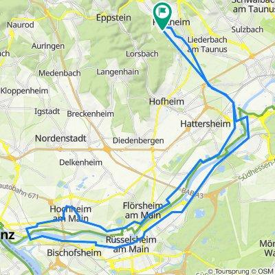 Unter den Birken 24, Kelkheim (Taunus) nach Mainz-Kostheim und zurück.Kelkheim (Taunus)