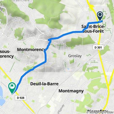 De 31 Avenue des Amandiers, Saint-Brice-sous-Forêt à 1 Rue de l'Arrivée, Enghien-les-Bains