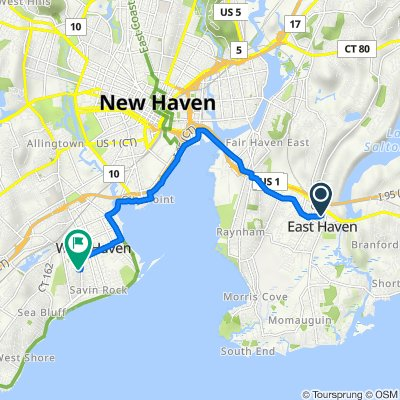 Messina Drive 65, East Haven to Bassett Street 5, West Haven