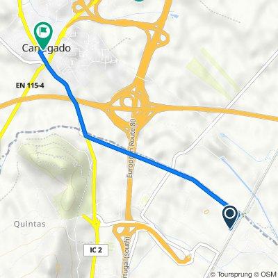 Carregado, Castanheira do Ribatejo to Rua Damião Goes 9, Carregado