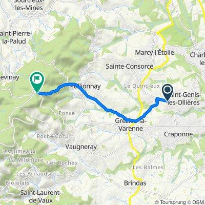 De 76 Avenue Marcel Mérieux, Saint-Genis-les-Ollières à 3259 Route de la Luère, Saint-Pierre-la-Palud