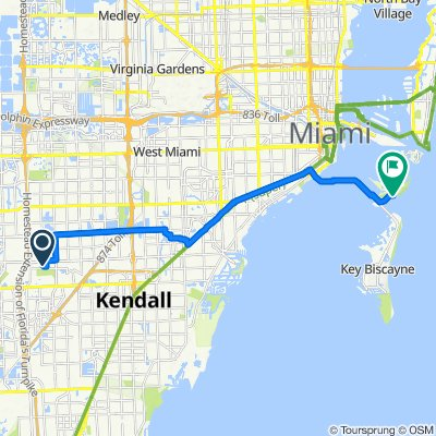 Route from 11001 SW 76th St, Miami