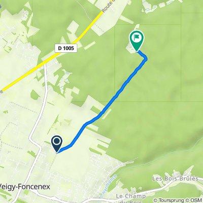 Itinéraire à partir de 168B Chemin des Creux, Veigy-Foncenex