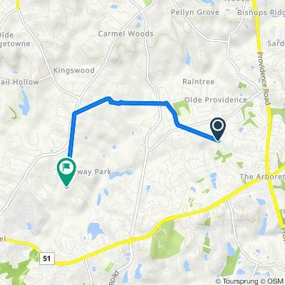 7213 Lillian Way, Charlotte to 5301–5499 Huntwell Commons Ln, Charlotte