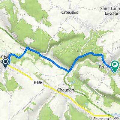 De 4 Rue du Montafilant, Villemeux-sur-Eure à Route de Coulombs, Bréchamps