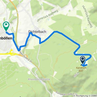 Route nach Bacharacher Straße 16, Rheinböllen