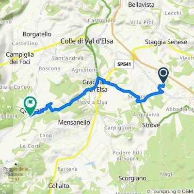Da Strada dei Laghi 64, Monteriggioni a Località Quartaia 114, Colle di Val d'Elsa