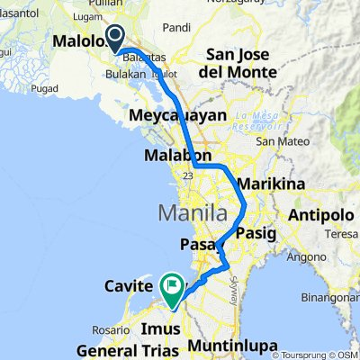 Route from Taal-Look 1st Road 134, Malolos