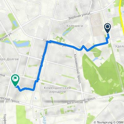От Фермское шоссе 41к8, Санкт-Петербург до Комендантская площадь 8, Санкт-Петербург