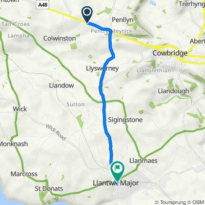 A48, Llangan, Bridgend to East View House, East St, Llantwit Major