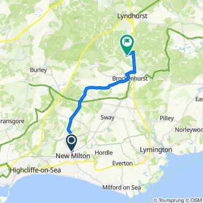 8A Ave Road, New Milton to New Park Manor Hotel, Lyndhurst Road, Brockenhurst