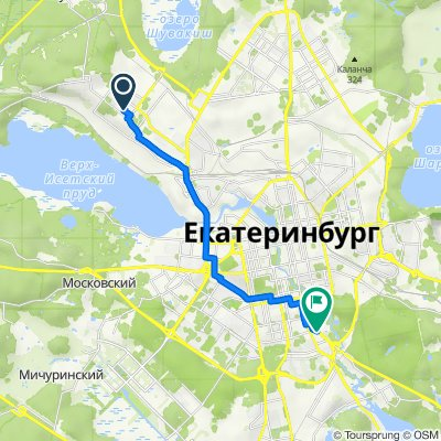 От Кунарская улица 12, Екатеринбург до Машинная улица 42-а, Екатеринбург