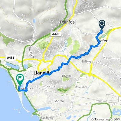 2–8 Heol Bryncelyn, Dafen, Llanelli to Traeth Ffordd, Llanelli