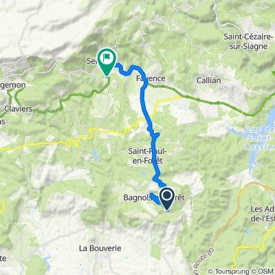 De Chemin du Cannet 6, Bagnols-en-Forêt à Ancienne voie ferrée de Claviers 56, Seillans