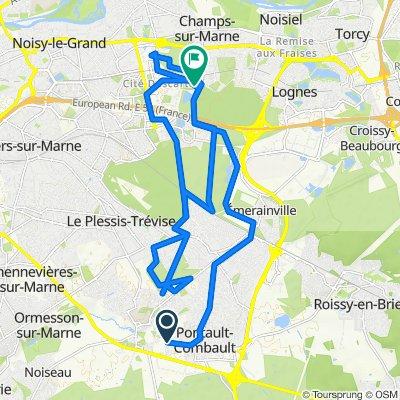 De Rue des Bergeronnettes 20, Pontault-Combault à Rond-Point des Vignes du Bailly 33, Champs-sur-Marne