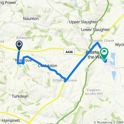 Stanborough Lane, Naunton, Cheltenham to 15 Rissington Road, Bourton On The Water, Cheltenham