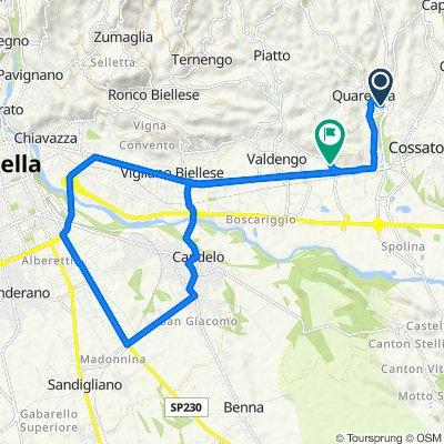 Da Via Fornace 2, Quaregna a Via Roma 3, Cerreto Castello
