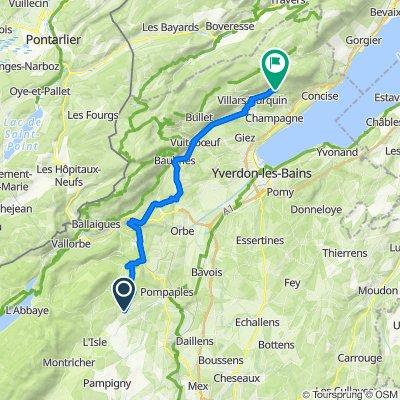 Route de la Praz 1, Moiry nach Chemin des Bruyères 2.1, Bonvillars