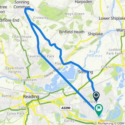 285 Loddon Bridge Road, Reading to 61 Colemans Moor Road, Reading