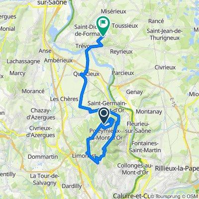 De Chemin de la Croix Rampau, Poleymieux-au-Mont-d'Or à 811 Route de Sainte-Euphémie, Saint-Didier-de-Formans