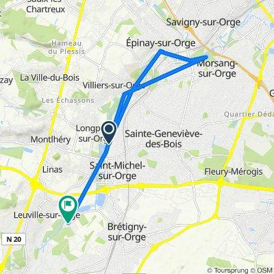 De Promenade de l'Orge, Saint-Michel-sur-Orge à 1 Rue du Petit Paris, Brétigny-sur-Orge