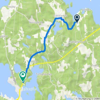 Route to Lenhovdavägen, Växjö