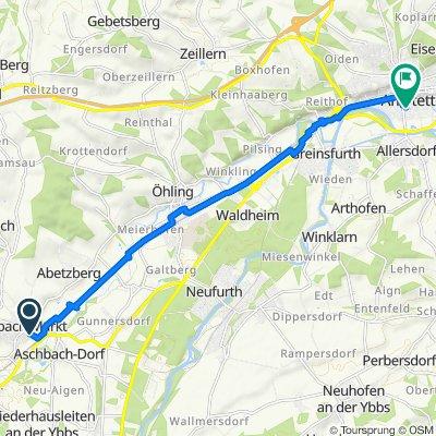 Schulring 4, Aschbach-Markt nach Burgenlandstraße 8, Amstetten