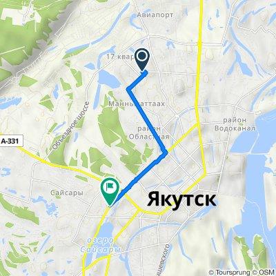 От улица Семена Данилова 12 корпус 1, Якутск до улица Лермонтова 105, Якутск