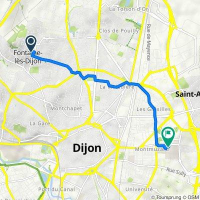 De 7 Rue de Belle Vue, Fontaine-lès-Dijon à 14 Rue Paul Gaffarel, Dijon