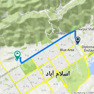 Route from Constitution Avenue, Islamabad