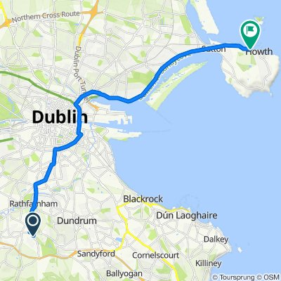 Route from 28 Odins Way, Dublin 16