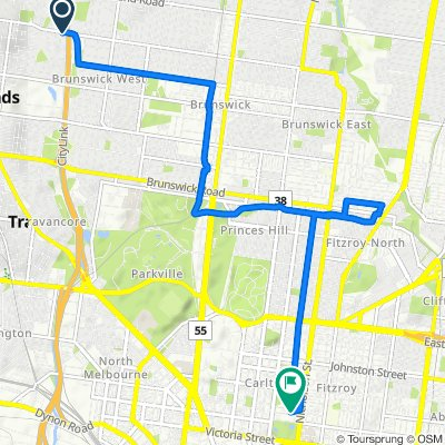 Route from 524 Albion Street, Brunswick West