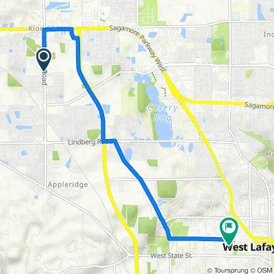 2922–2992 Klondike Rd, West Lafayette to 150 N University St, West Lafayette