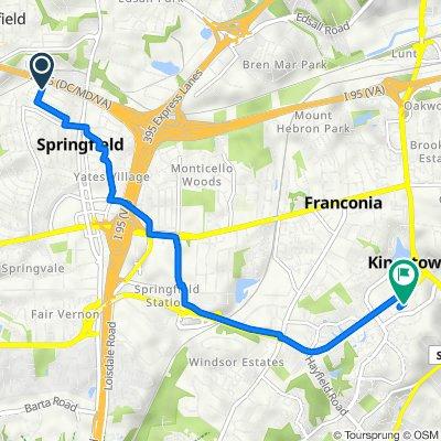 5704 Belfast Ln, Springfield to 5885 Kingstowne Blvd, Alexandria