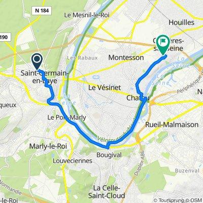 De Rue d'Alsace 14, Saint-Germain-en-Laye à Rue de l'Égalité 12B, Carrières-sur-Seine