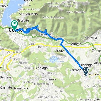 Da Via Sant'Arialdo 1–3, Alzate Brianza a Via Vittorio Emanuele II 94, Como